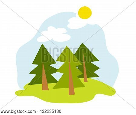 Summer Forest Glade With Fir Trees And The Sun. A Forest Landscape Painted In The Doodle Style.