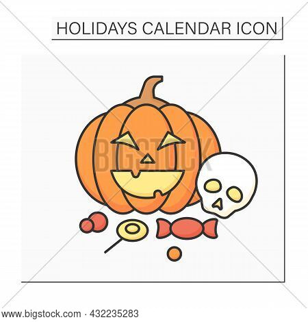 Halloween Color Icon. October 31.children Carve Pumpkins, Decorate Homes.dressing Costumes And Colle