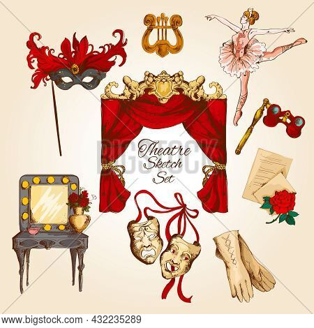 Theatre Acting Performance Colored Sketch Decorative Icons Set With Ballerina Curtain Gloves Isolate