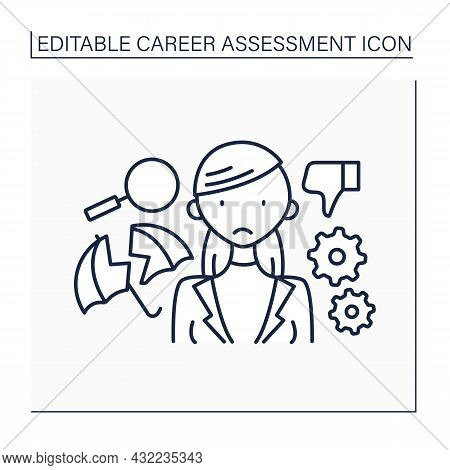 Unstable Job Line Icon. Employment Instability. Timely Work Without Employee Insurance. Career Asses