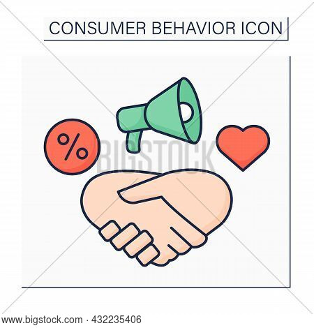 Relationship Marketing Color Icon. Strategy For Building Close Relationships With Customers, Supplie