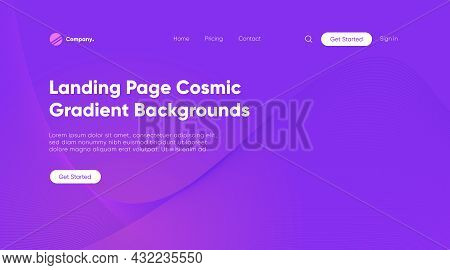 Landing Page Design Template. Simple Homepage For Your Creative Website In Soft Gradient Purple Vect