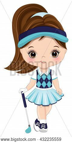 Cute Little Girl Wearing Turquoise, Navy And White Sport Outfit Playing Golf. Little Girl Is Brunett