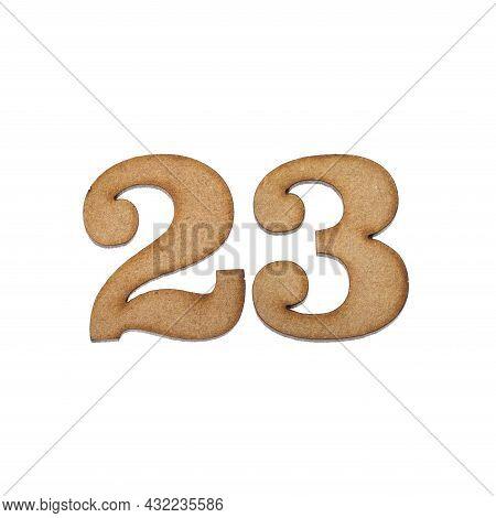 Number Twenty-three, 23 - Piece Of Wood Isolated On White Background