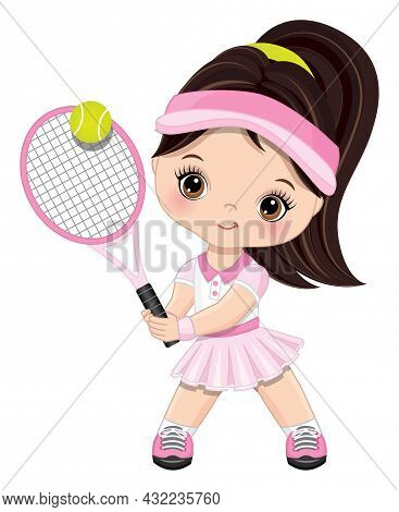 Cute Little Girl Wearing Pink And White Sport Outfit Playing Tennis. Little Girl Is Dark-haired With