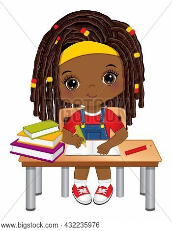 Cute Little Black Girl Sitting At Desk And Writing. Vector Back To School. Little African American G