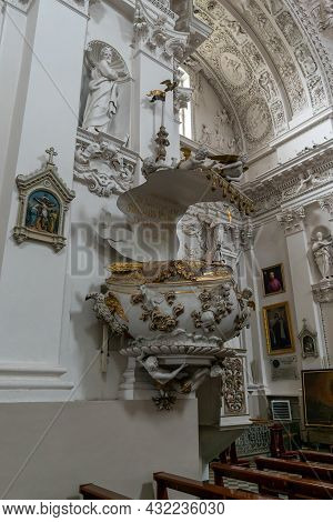 Interior View Of The Church Of Saint Peter And Saint Paul In Vilnius With The Pulpit