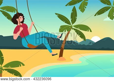Girl Swinging On Swing On Beach. Relaxing On Sunny Summer Day. Tropical Images, Banners And Posters.