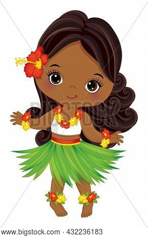 Beautiful, Cute Little Girl Wearing Hawaiian Grass Skirt And Hibiscus Garland Dancing. Little Luau G