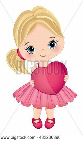 Cute, Little Girl Wearing Pink Dress Holding Heart. Vector St. Valentines Day. Cute Girl Is Blond Wi