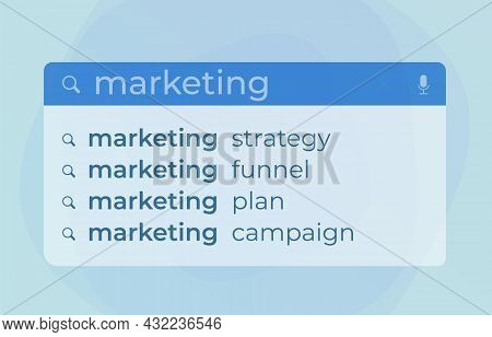 Marketing Autocomplete Search Web Suggestions Modern Vector Concept. Website Searching Bar With Mark