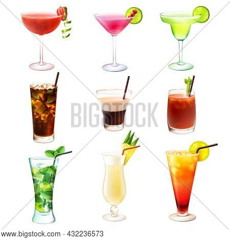 Cocktail Realistic Decorative Icons Set With  Margarita Mojito Bloody Mary Isolated Vector Illustrat