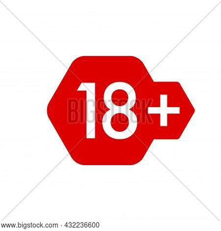 18 Plus Years Old Icon Vector Set. Adults Content. 18 Age Restriction Signs. Eighteen Plus Years Sti
