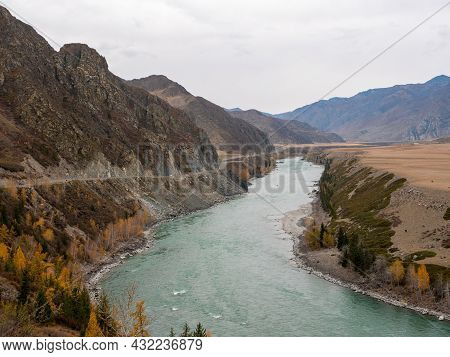 Autumn View Of The Altai Mountains And The Katun River. Chuysky Tract, Altai Republic, Russia.
