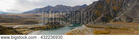 Panoramic Autumn View Of The Altai Mountains And The Confluence Of The Chuya And Katun Rivers. Chuys
