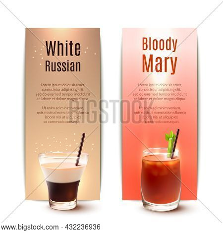White Russian And Bloody Mary Cocktails Vertical Banner Set Isolated Vector Illustration