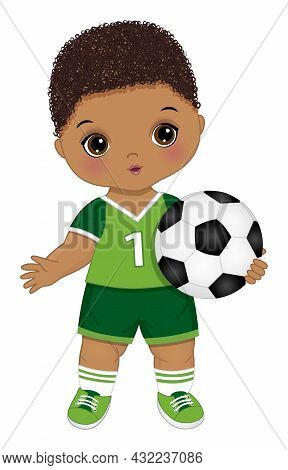 Cute Little Soccer Boy Wearing Green Sport Outfit Holding Football Ball. Little Boy Is Curly. Cute B