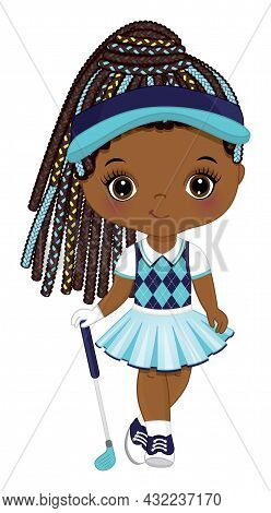 Cute Little African American Girl Wearing Turquoise, Navy And White Sport Outfit Playing Golf. Cute