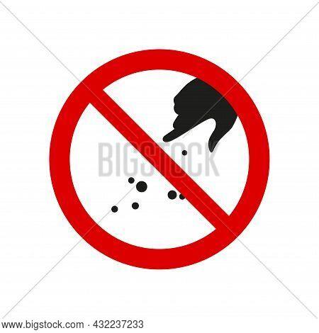 Hand Silhouette Feeding Ban Prohibition Sign. No Symbol, Do Not Sign, Circle Backslash Symbol. Do No