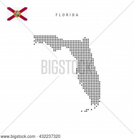Square Dots Pattern Map Of Florida. Dotted Pixel Map With Flag Isolated On White Background. Vector