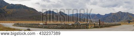 Chuysky Tract, Altai Republic, Russia - 15 October 2020: Panoramic Autumn View Of The Altai Mountain
