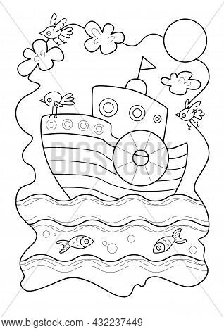 Cartoon Page For Coloring Book With Boat, Hand-drawn Vector Illustration.