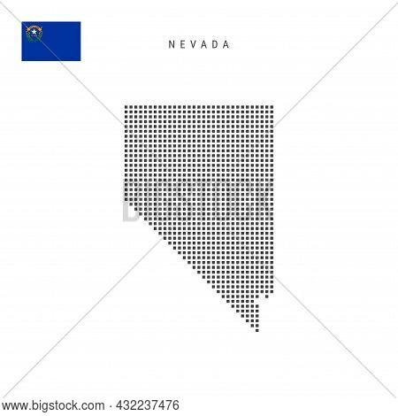 Square Dots Pattern Map Of Nevada. Dotted Pixel Map With Flag Isolated On White Background. Vector I