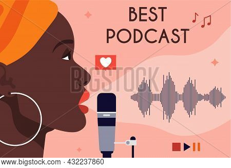 African American Woman Recording Podcast. Audio For Listening Online, Useful Information, Audiobook.