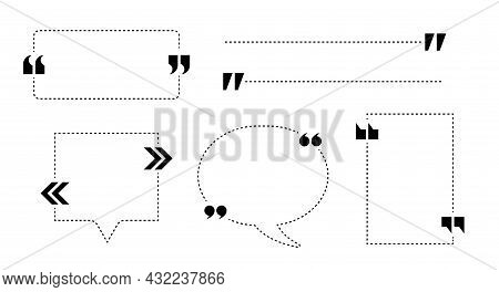 Quote Box Frames Set. Comment Bubble, Message Border. Quote Box. Quotation Marks. Flat Vector Illust