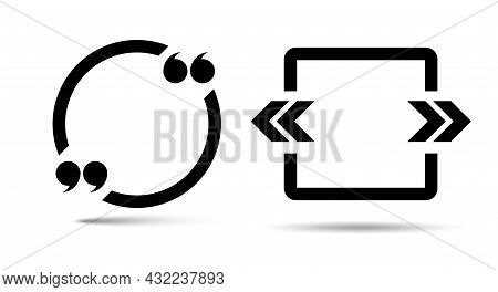 Circle And Square Quote Frame Icons. Quotation Marks. Flat Vector Illustration Isolated On White.