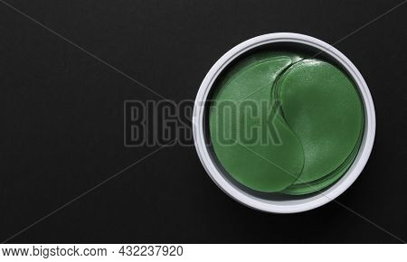 Hydrogel Patches For The Skin Around The Eyes. View From Above Anti-aging Gel Patches Of Green Color