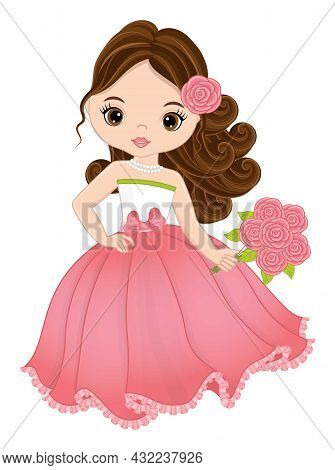 Beautiful Young Girl Wearing Long Pastel Pink Dress Holding Bouquet Of Roses. Cute Girl Is Brunette