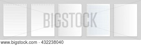 Set Of Notepapers. Collection Of Sheets On Which Musicians And Composer Record Their Songs. Melody,