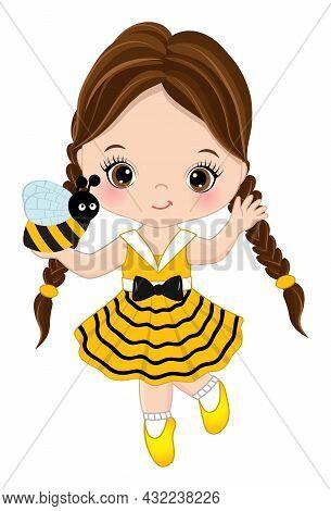 Vector Cute Little Girl Running To Catch Bee. Little Girl Wearing Yellow, Striped Dress. Little Girl