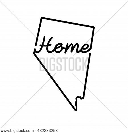 Nevada Us State Outline Map With The Handwritten Home Word. Continuous Line Drawing Of Patriotic Hom