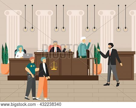 Court Session In The Courtroom, Flat Vector Illustration. Judicial Process. Law And Justice. Legal T