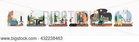 Nursing Home Scene Set, Flat Vector Illustration. Elderly Care. Active Leisure. Assisted Living Comm