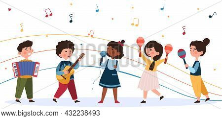 Children Sing And Play Musical Instruments. Little Musicians Rehearse Song. Guitar, Maracas, Drums,