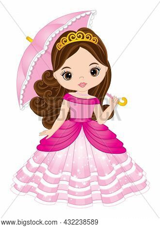 Cute Beautiful Princess Wearing Pink, Long Dress And Tiara, Holding Umbrella. Princess Is Brunette W