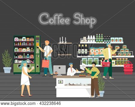 People In Hemp Shop, Cbd Store, Cannabis Dispensary, Flat Vector Illustration. Weed Joint Smoking Ac