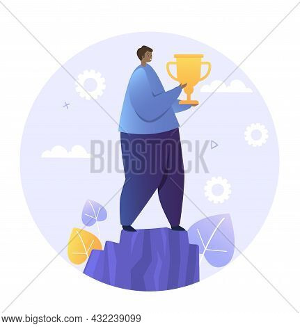 Man Holding Cup. Human Won Competition And Received Welldeserved Award. Character Rejoices At Conque