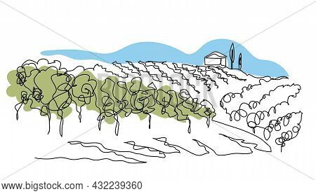Vineyard Field Simple Vector Sketch Illustration. One Continuous Line Art Drawing Of Landscape With