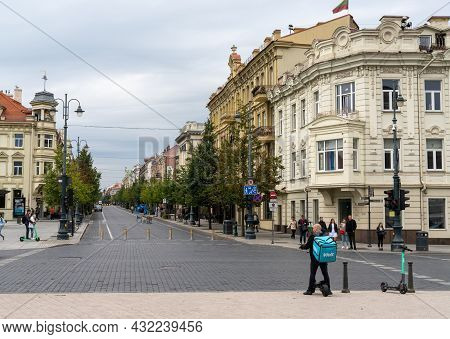 The Historic City Center Of Old Town Vilnius With A View Of Gedimino Street