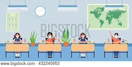 Back To School For New Normal Lifestyle Banner Social Distancing In Class Room Concept, Prevention T