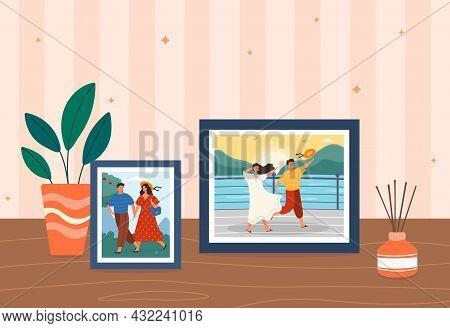 Framed Photo On Table. Framed Photographs For Memory. Family Portraits Kept. Most Vivid Impressions,