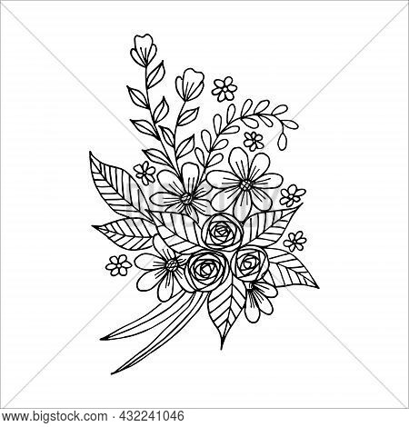 Hand Drawn Flower Arrangement In Black And White Color Doodle Or Sketch Style, Vector. Postcard, Inv