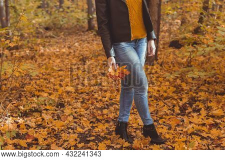 Close-up Of Woman Is Kicking Yellow Leaves In Autumn. Sad Mood And Seasonal Affective Disorder Conce