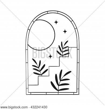 Bohemian Modern Arch Logo Design. Moon, Stars
