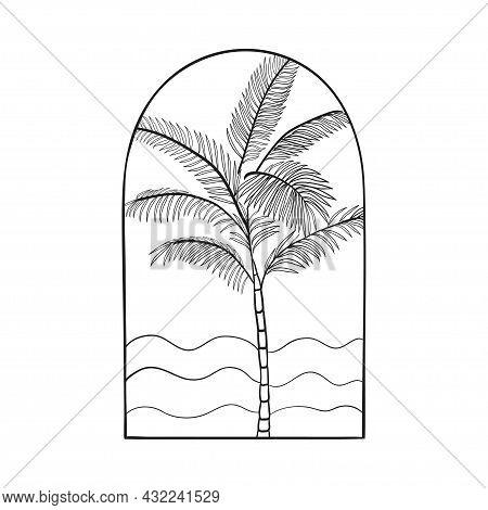 Bohemian Modern Arch Logo Design. Palm, Waves