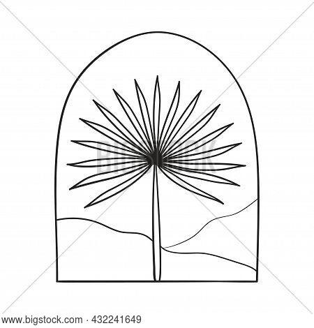 Bohemian Modern Arch Logo Design. Palm, Mountains